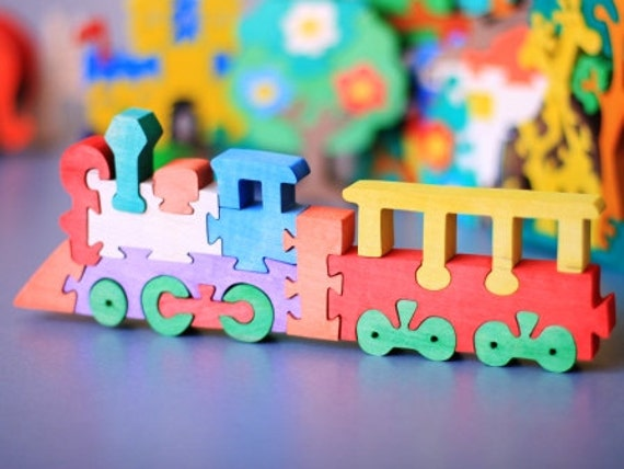 Puzzle Train. Wooden toys, wooden puzzle, eco-friendly handmade toys for babies, children, kids