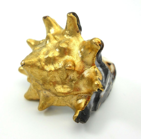 Gold dipped carved shell statement ring