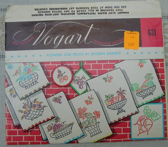 Vogart 631 Embroidery Transfers -- Fruit, Flowers & Baskets-- Uncut