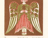 Oak Angel - Woodcut Print