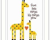 Nursery Art Print, Nursery Giraffes,  Kids Room Decor, Nursery Wall Art, Giraffe Art Print, From Little Things 8 x 10 Art Print