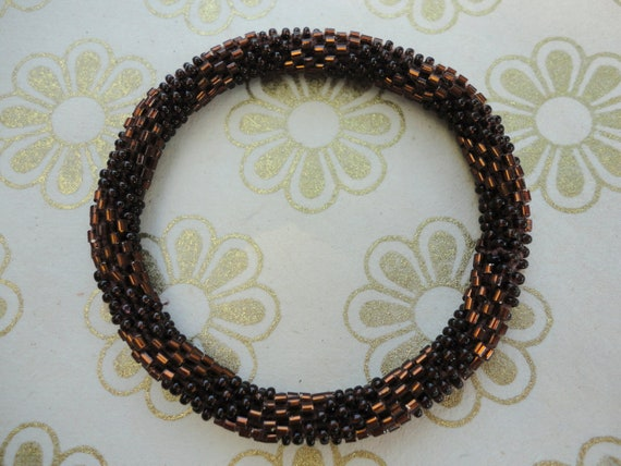 Chocolate Brown Crochet Beaded Bracelet - Chocolate brown beaded bracelet,  fall 2012 collection