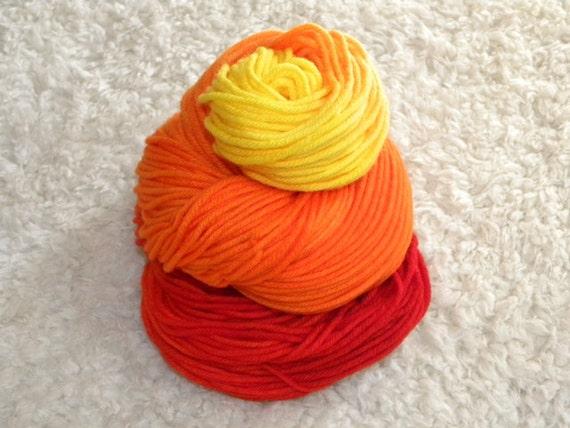 Hand Dyed yarn, Worsted Weight, 100% Superwash Merino Wool, 100g/230 yards- 'Fire Storm'