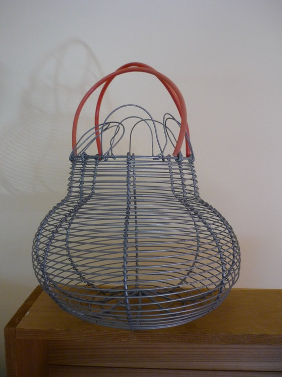 vintage wire egg basket shabby chic rustic farmhouse by