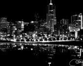 RESERVED 12x18 Black and White Denver Night Lights Fine Art Photography