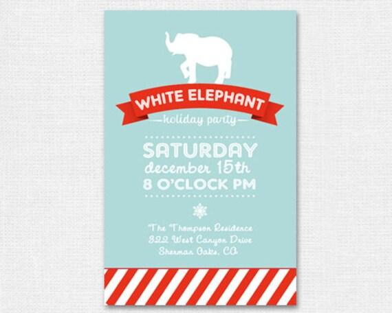 items similar to white elephant holiday party invitation, Party invitations