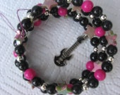 Rockstar - Black, Hot Pink and Silver Beaded Memory Wire Bracelet
