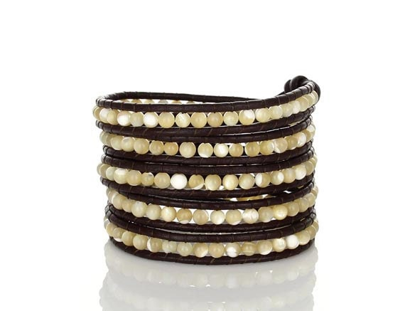 SAVE 25% Mother of Pearl Brown Leather Wrap Bracelet
