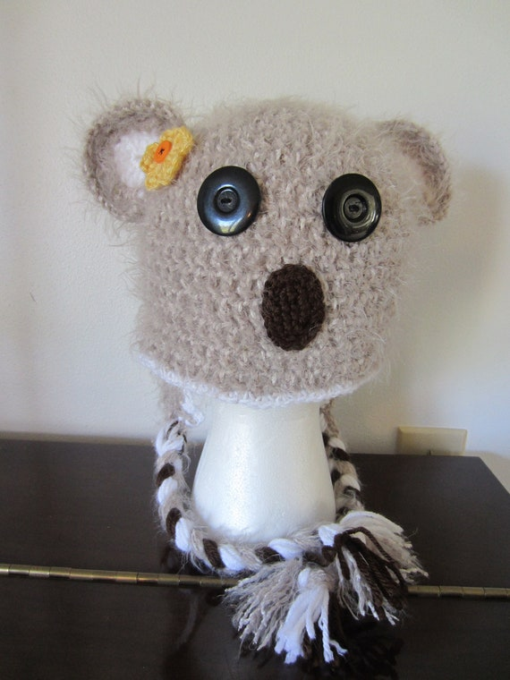 KOALA BEAR HAT.  Very Soft Brown Koala Hat with Braids and Flower.