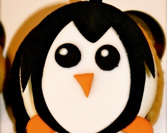 PENGUIN - Fondant Cupcake, and Cookie Toppers - 1 Dozen