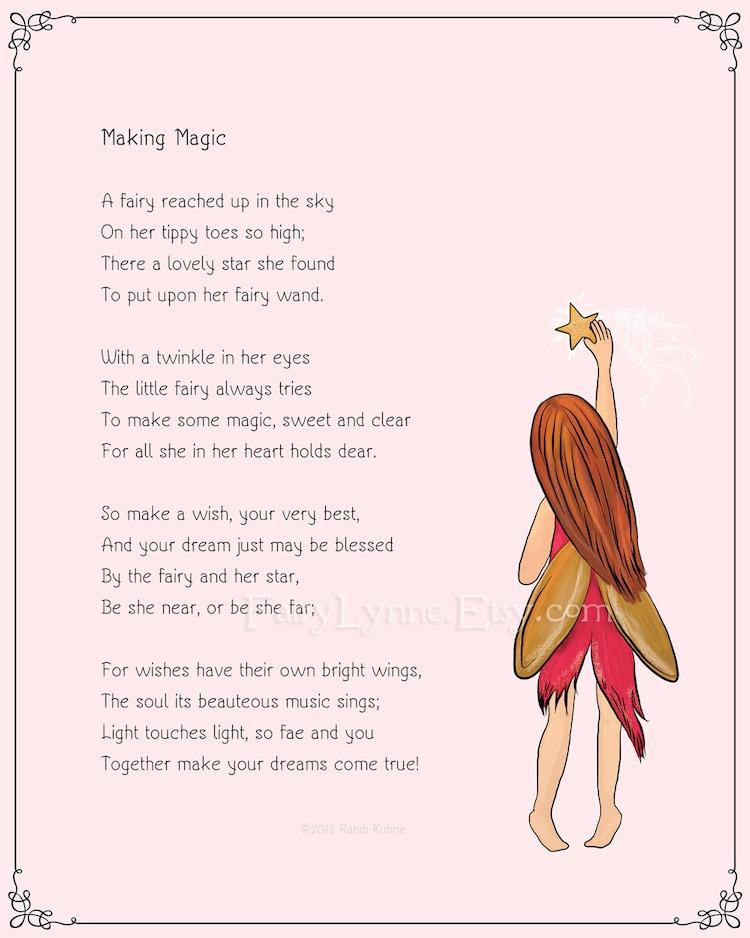 Original Fairy Poem Making Magic 8x10 Instant By Fairylynne