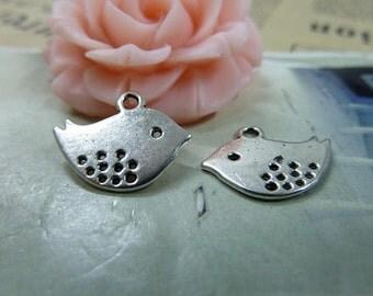 50PCS antique silver 12x15mm bird charm pendant- wB315