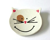 White Friendly Cat Dish Smiley Face Ceramic Plate, Spoon Rest, Kitchen Decoration - Ceraminic