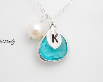 Custom Initial Necklace, Silver Monogram Necklace, Mother Necklace, Gift for Coworker, Bridesmaid Jewelry, New Mom Jewelry