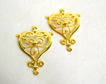 SALE - SALE - ornate gold plated brass earring findings - 35mm - 2 pair