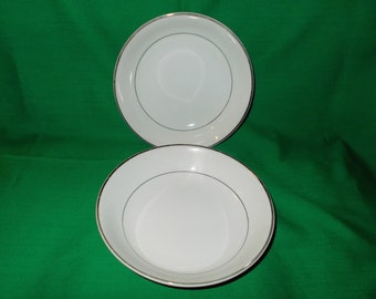 "Two (2), 6 1/4"" Porcelain Coupe Cereal Bowls by Harmony House China, in the Mary 3835 Pattern."