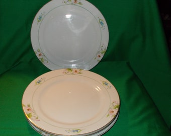 """Four (4), 10"""" Hand Painted Porcelain, Nippon Dinner Plates from Noritake in the N400 Pattern."""