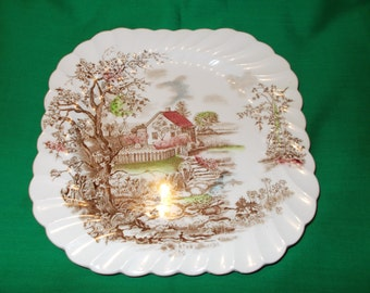 "One (1), 8 5/8"" Square Salad Plate, from Johnson Bros., in the Spring Pattern."