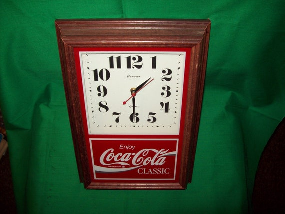 One 1 Wood Framed Coca Cola Clock By Hanover Clock Co