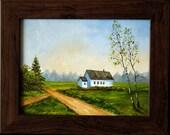 """Original oil painting for sale: """"Little Farm"""" , summer landscape"""