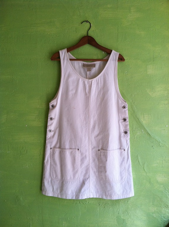 90s white denim mini jumper dress by express