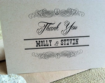 WEDDING - Thank you cards - CUSTOM - Vintage Scroll - Rustic - Stationery - Recycled  - Eco - Personalized - Set of 20 Notecards