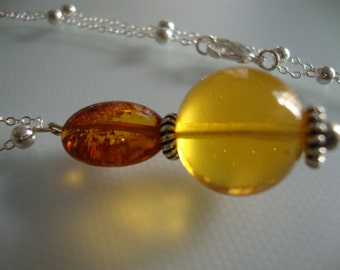 Amber Baltic - Genuine -Yellow - Honey - Bead - Silver Plated Chain - Handmade Necklace - Pendant