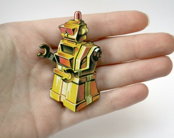 Retro Robot Wooden Brooch