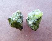 Raw Green Peridot Stud Earrings