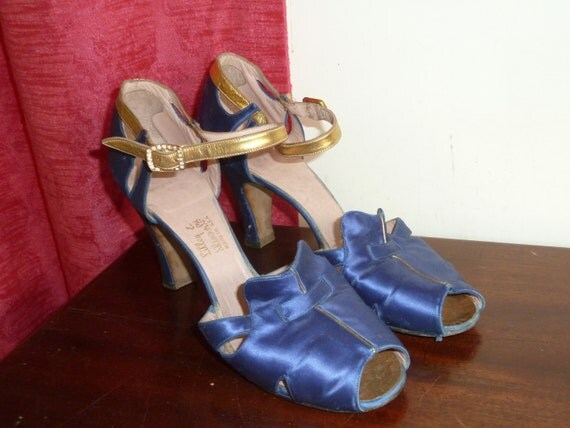 Electric Blue and Gold Strap Shoes Lilley and Skinner Uk Size 5 1/2 N USA 8 1/2 EU 38 1/2