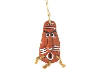 Tribal Necklace, Tribal Ethnic necklace,  Tribal Mask (Necklace) , Ceramic pendant, pottery mask
