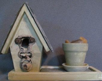 Slate roof Birdhouse with terra cotta Pot