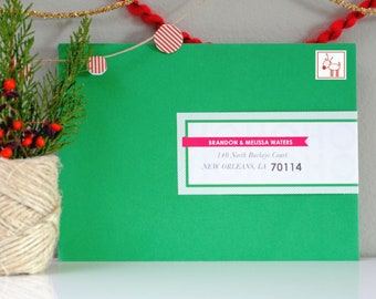 Custom Holiday Wraparound Mailing Address Labels- HO HO HO - Christmas, Envelope Stickers, Front to Back, Red & Green, Cute, Fun, Easy
