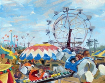 Oil Painting of Carnival Rides