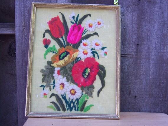 Vintage floral crewel embroidery