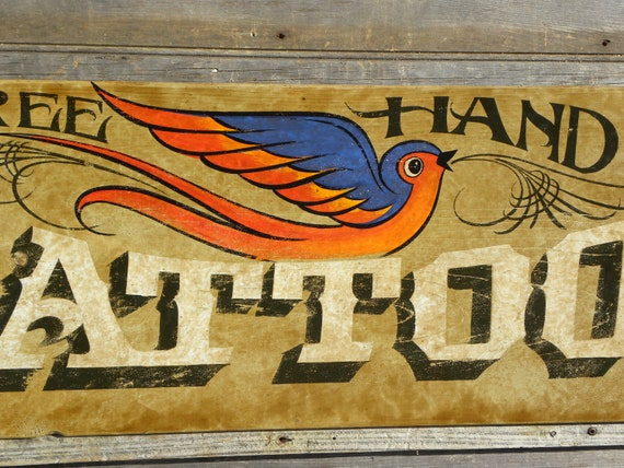 Tattoo Sign, hand painted, original, art, wooden sign, vintage tattoo , decor