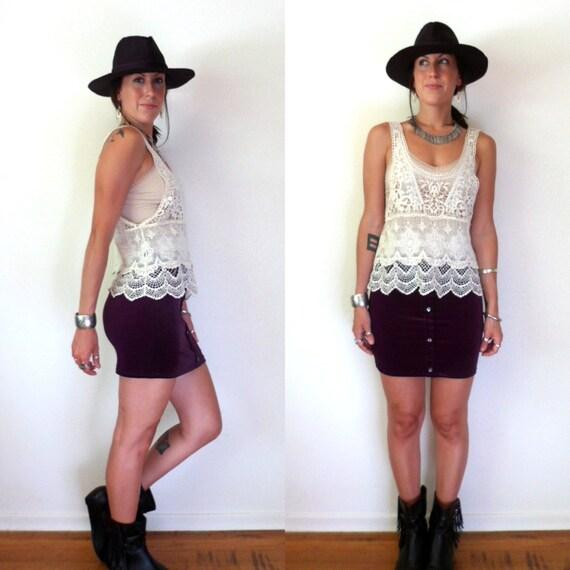 Purple Velvet High Waisted Skirt