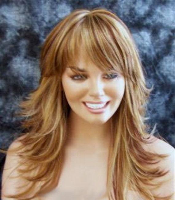 Elizabeth // Long Blonde Wig with Brown Red Highlights Swoop
