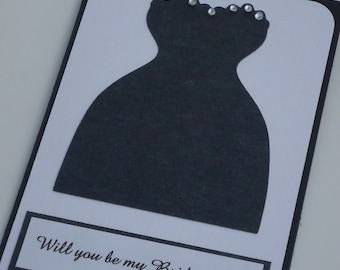 Will You Be My Bridemaid Card Shimmer Black and White