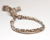Mens Bracelet Kumihimo Braid Brown & White Earth Tone Fiber Mans Jewelry