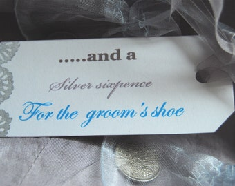Silver Sixpence for the lucky 'GROOM'