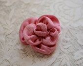 upcycled pink silk fabric flower hair clip