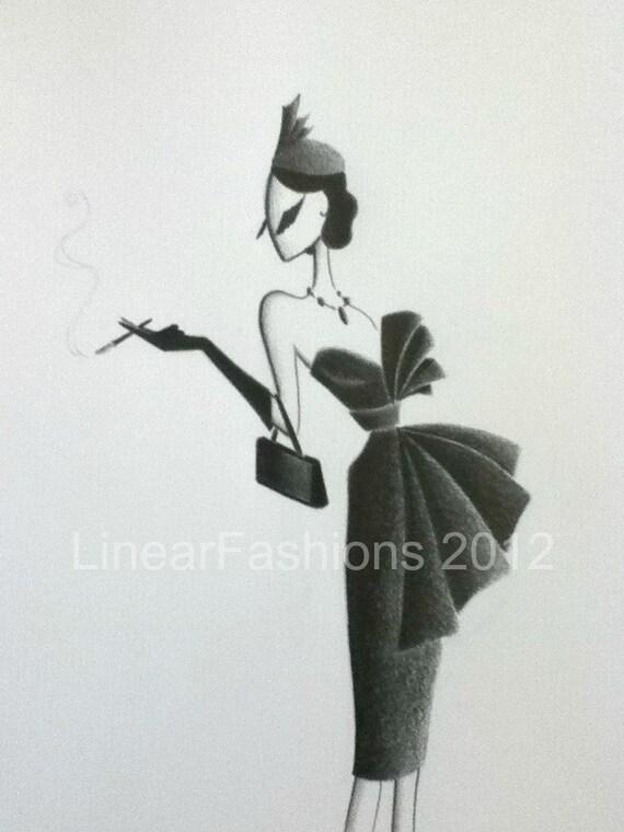 Fashion Illustration 1950s Black Pleated Cocktail Dress Art Decor or Gift
