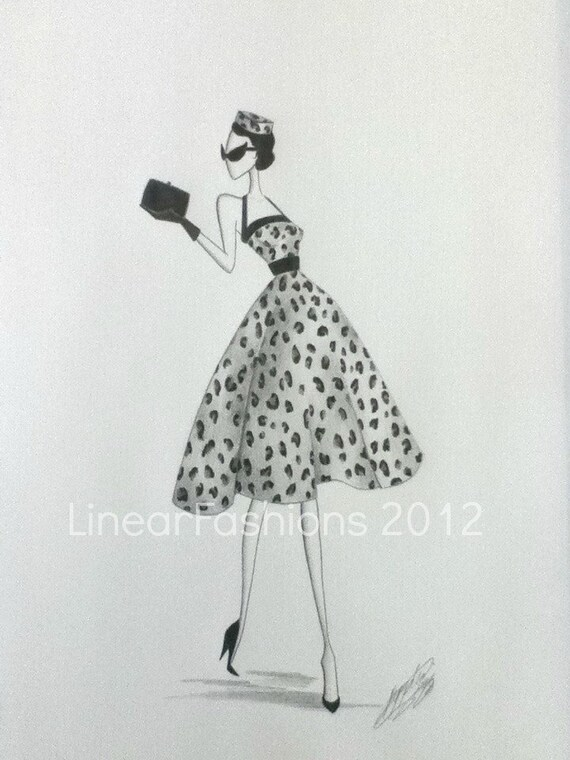 Fashion Art Illustration 1950s Leopard Print Dress Decor