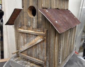 Barn birdhouse, old sawmill, rustic birdhouse, functional birdhouse, folkart, antique ceiling tin, old west birdhouse