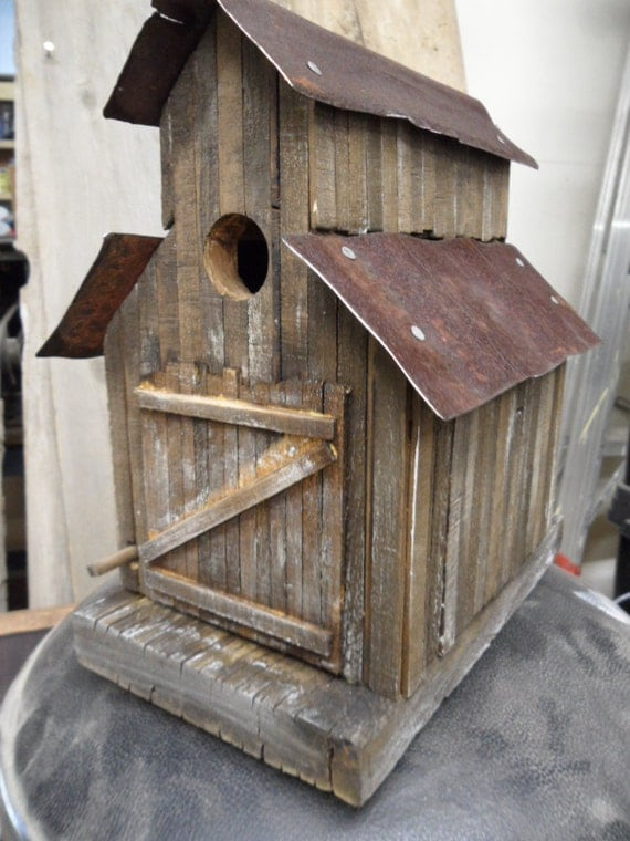 Pallet Wood Name And Bird Sign >> Barn birdhouse old sawmill rustic birdhouse functional