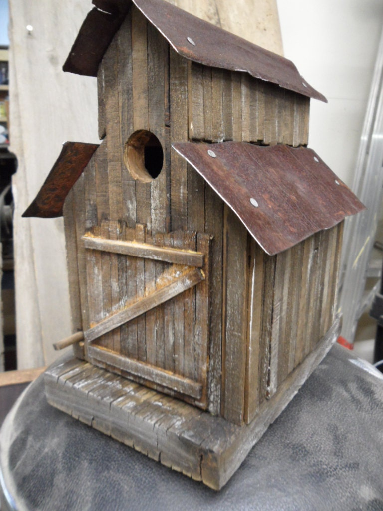 Barn birdhouse old sawmill rustic birdhouse functional - Three wooden house plans ...