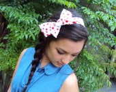 Retro Polka Dot Headband White with Red Polka Dots Minnie Headband Bow Hair Band Tie up Hair Wrap