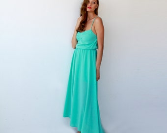 Ballerina mint maxi dress, Maxi mint bridesmaids dress 1004