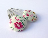 Floral Fabric Button Hair Clips by Poppy Dreams